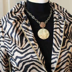 DANA BUCHMAN Black & Gold Animal Print Long Sleeve
